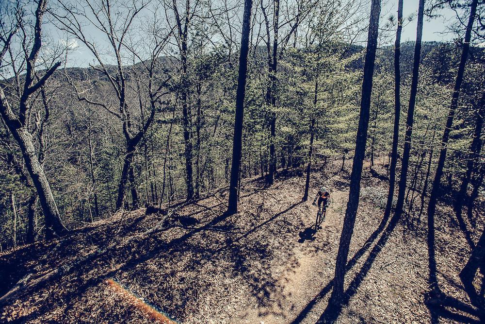 Man Mountain Biking in Blue Ridge Mountains Mountain biking in the Blue Ridge Mountains.