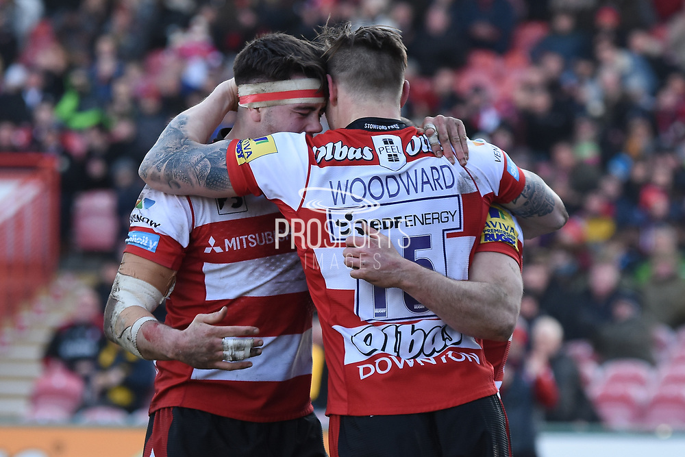 Gloucester winger Charlie Sharples scores a try during the Aviva Premiership match between Gloucester Rugby and Wasps at the Kingsholm Stadium, Gloucester, United Kingdom on 24 February 2018. Picture by Alan Franklin.