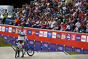 BMX Finals, Laura Smulders (Netherlands) gold medal, during the Cycling European Championships Glasgow 2018, at Glasgow BMX Centre, in Glasgow, Great Britain, Day 9, on August 10, 2018 - Photo luca Bettini / BettiniPhoto / ProSportsImages / DPPI<br /> - Restriction / Netherlands out, Belgium out, Spain out, Italy out -