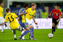 Wade Elliott of Birmingham City and Arghus of NK Maribor at 2nd Round of Europe League football match between NK Maribor (Slovenia) and Birmingham City (England), on September 29, 2011, in Maribor, Slovenia.  (Photo by Urban Urbanc / Sportida)