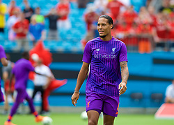CHARLOTTE, USA - Sunday, July 22, 2018: Liverpool's Virgil van Dijk during the pre-match warm-up before a preseason International Champions Cup match between Borussia Dortmund and Liverpool FC at the  Bank of America Stadium. (Pic by David Rawcliffe/Propaganda)