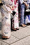 "Girls in summer kimono, ""yukata"" at Kiyomizu Temple."