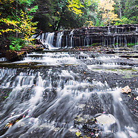 Au Train Falls, dressed in fall foliage, near Munising, MI,
