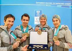 27.02.2018, Salzburg, AUT, PyeongChang 2018, ÖOC Medaillenfeier, im Bild Willi Denifl, Lukas Klapfer, Bernhard Gruber, Mario Seidl // during a ÖOC medal celebration Party after the Olympic Winter Games Pyeongchang 2018 in Salzburg, Austria on 2018/02/27. EXPA Pictures © 2018, PhotoCredit: EXPA/ JFK