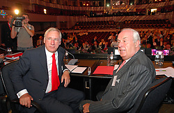 BRUSSELS, BELGIUM - AUGUST-6-2007 - <br /> Fortis Chief Executive Officer, Jean-Paul Votron, and Chairman of the Fortis Board of Directors, Count Maurice Lippens, pose for photographers before the start of an extraordinary shareholders meeting at the Bozar Center in Brussels, Monday August 6, 2007.(Photo © Jock Fistick)
