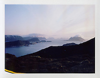 Ellingsøy 20120422. Utsikt mot Ellingsøyfjorden, Sula, Ålesund, Aksla, Sukkertoppen og Godøya fra Ellingsøya.<br /> Foto: Svein Ove Ekornesvåg