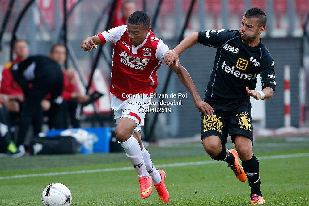 ALKMAAR - 04-09-2014 - AZ - KV Mechelen, oefenduel, AFAS Stadion, 2-1, KV Mechelen speler Cordaro Alessandro (r), AZ speler Dabney dos Santos Souza (l).