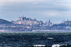 Edinburgh Castle and skyline as seen from the beach at Longniddry.