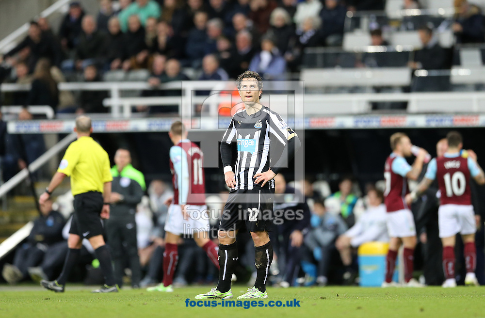Daryl Janmaat of Newcastle United looks at the celebrating Burnley fans after conceding their third during the Barclays Premier League match at St. James's Park, Newcastle<br /> Picture by Simon Moore/Focus Images Ltd 07807 671782<br /> 01/01/2015