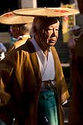 An elderly man in the Tenjin Festival (Tenjin Matsuri) in Osaka.