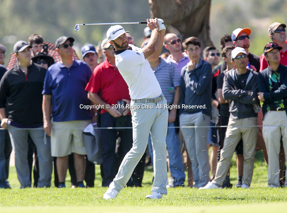 Dustin Johnson plays in the Final Round of the Northern Trust Open at the Riviera Country Club on February 21, 2016, in Los Angeles,(Photo by Ringo Chiu/PHOTOFORMULA.com)<br /> <br /> Usage Notes: This content is intended for editorial use only. For other uses, additional clearances may be required.