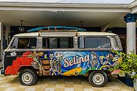 """Volkswagon bus mural """"Selina""""; Pedasi, Panama"""