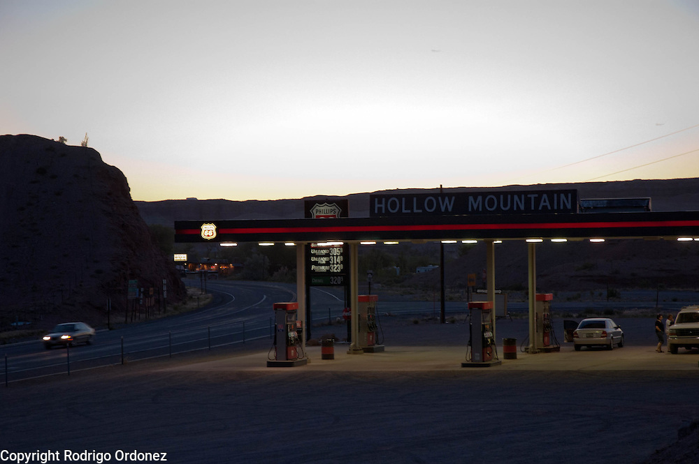 View of a gas station at sunset in Hanksville, Utah, USA.