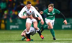 Fraser Dingwall of England U20 is tackled by Craig Casey of Ireland U20 - Mandatory by-line: Ken Sutton/JMP - 01/02/2019 - RUGBY - Irish Independent Park - Cork, Cork - Ireland U20 v England U20 -