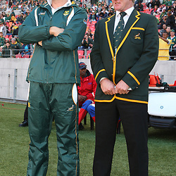 PORT ELIZABETH, SOUTH AFRICA - AUGUST 20, Jean de Villiers with Dick Muir assistant coach during the Castle Lager Tri Nations match between South Africa and New Zealand from Nelson Mandela Bay Stadium on August 20, 2011 in Port Elizabeth, South Africa<br /> Photo by Steve Haag / Gallo Images