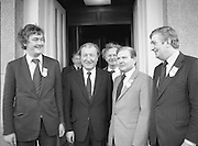 Image of Fianna Fáil leader Charles Haughey touring West Cork during his 1982 election campaign...04/02/1982.02/04/82.4th February 1982..Man at the centre:..Chalrles Haughey in the midst of Fianna Fáil  colleagues as he once again prepares to become leader of the nation....