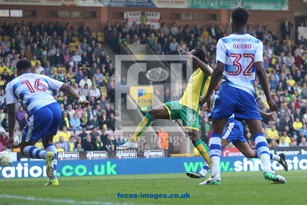 Cameron Jerome of Norwich scores his sides 7th goal during the Sky Bet Championship match at Carrow Road, Norwich<br /> Picture by Paul Chesterton/Focus Images Ltd +44 7904 640267<br /> 08/04/2017