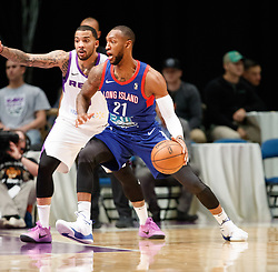 November 19, 2017 - Reno, Nevada, U.S - Long Island Nets Forward KAMARI MURPHY (21) drives against Reno Bighorns Guard MARCUS WILLIAMS (3) during the NBA G-League Basketball game between the Reno Bighorns and the Long Island Nets at the Reno Events Center in Reno, Nevada. (Credit Image: © Jeff Mulvihill via ZUMA Wire)