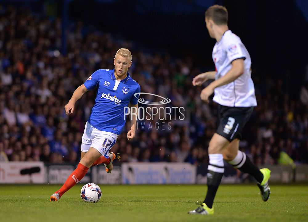Jayden Stockley during the Capital One Cup match between Portsmouth and Derby County at Fratton Park, Portsmouth, England on 12 August 2015. Photo by Adam Rivers.