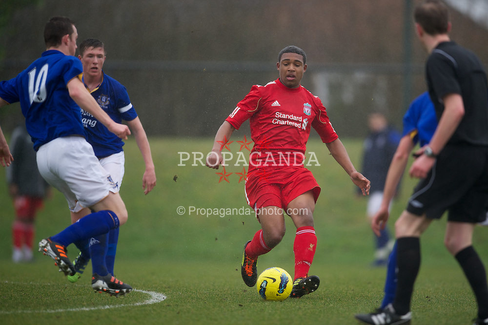 KIRKBY, ENGLAND - Friday, February 24, 2012: Liverpool's Jordan Ibe in action against Everton during the FA Premier League Academy match at the Kirkby Academy. (Pic by David Rawcliffe/Propaganda)
