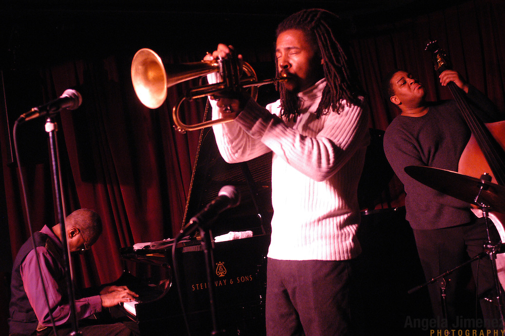 Pianist Ronnie Matthews, from left, flugel horn player Roy Hargrove and bassist Dwayne Burno perform with The Roy Hargrove Quintet at the Village Vanguard in Manhattan on January 14, 2003.