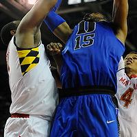 16 February 2013:   Duke Blue Devils forward Josh Hairston (15) in action against Maryland Terrapins center Shaquille Cleare (44) at the Comcast Center in College Park, MD. where the Maryland Terrapins defeated the Duke Blue Devils, 83-81.