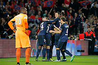 Ezequiel Ivan Lavezzi (psg) (Pocho), Blaise Mathuidi (psg), Lucas Rodrigues Moura da Silva (psg), Layvin Kurzawa (psg), Benjamin Stambouli (psg) during the French Championship Ligue 1 football match between Paris Saint Germain and Toulouse FC on November 7, 2015 at Parc des Princes stadium in Paris, France. Photo Stephane Allaman / DPPI