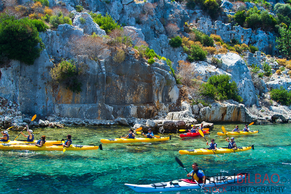 People and kayak. Kekova island.  Antalya province. Mediterranean coast. Turkey.