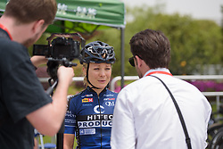 Emilie Moberg being interviewed by inCycle at Tour of Chongming Island - Stage 3. A 111.6km road race on Chongming Island, China on 7th May 2017.