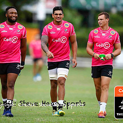 Lukhanyo Am with Luke Stringer and Curwin Bosch of the Cell C Sharks during The Cell C Sharks training session at Jonsson Kings Park Stadium in Durban, South Africa. 21 March 2019 (Mandatory Byline Steve Haag)