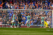 An early free kick sees the ball in the back of the net for Rangers during the Ladbrokes Scottish Premiership match between Rangers and Celtic at Ibrox, Glasgow, Scotland on 12 May 2019.