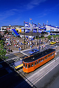 Image of Pier 39 and trolley car in San Francisco, California