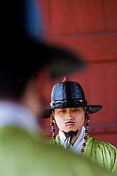 Detail of ceremonial guards in traditional uniform at Gyeongbokgung Royal Palace Seoul South Korea