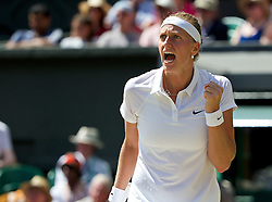 03.07.2014, All England Lawn Tennis Club, London, ENG, WTA Tour, Wimbledon, Tag 10, im Bild Petra Kvitova (CZE) celebrates a point during the Ladies' Singles Semi-Final match on day ten // during day 10 of the Wimbledon Championships at the All England Lawn Tennis Club in London, Great Britain on 2014/07/03. EXPA Pictures &copy; 2014, PhotoCredit: EXPA/ Propagandaphoto/ David Rawcliffe<br /> <br /> *****ATTENTION - OUT of ENG, GBR*****