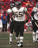 San Diego Charger Junior Seau (55) during game action against the Kansas City Chiefs at Arrowhead Stadium in Kansas City, Missouri on November 24, 1996.