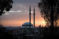Mosque at sunset, Guzelyurt, Cappadocia, Turkey.