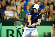 Jamie Murray of Great Britain in action during the 2016 Davis Cup Semi Final between Great Britain and Argentina at the Emirates Arena, Glasgow, United Kingdom on 17 September 2016. Photo by Craig Doyle.