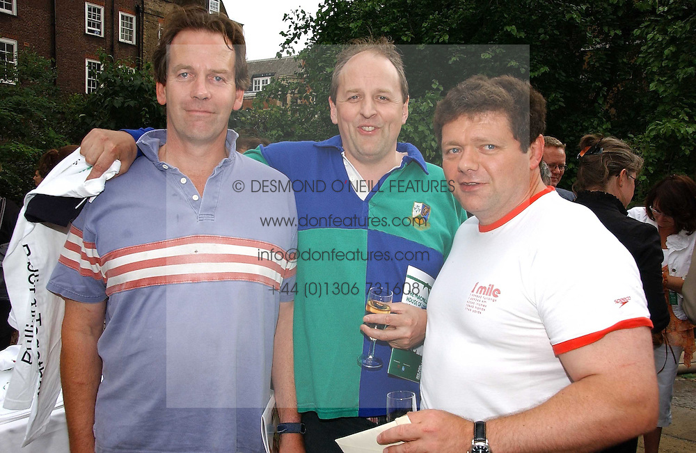 Left to right, the EARL OF COURTON, LORD REDESDALE and LORD ADDINGTON at the annual Macmillan Cancer Support House of Lords vs the House of Commons Tug of War held in Victoria Tower Gardens on 20th June 2006.<br />