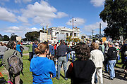 Public rally protesting the lack of action toward saving the Guildford Hotel (in background) after being extensively damaged by arson. Guildford, Perth, Western Australia