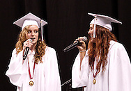 Molly Kuntz and Emily Richter perform during the 142nd annual Lebanon High School commencement at the Nutter Center in Fairborn, Saturday, May 26, 2012.