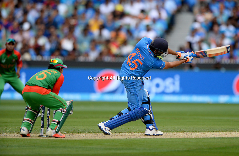 Rohit Sharma (India)<br /> India vs Bangladesh / Qtr Final 2<br /> 2015 ICC Cricket World Cup<br /> MCG / Melbourne Cricket Ground <br /> Melbourne Victoria Australia<br /> Thursday 19 March 2015<br /> &copy; Sport the library / Jeff Crow