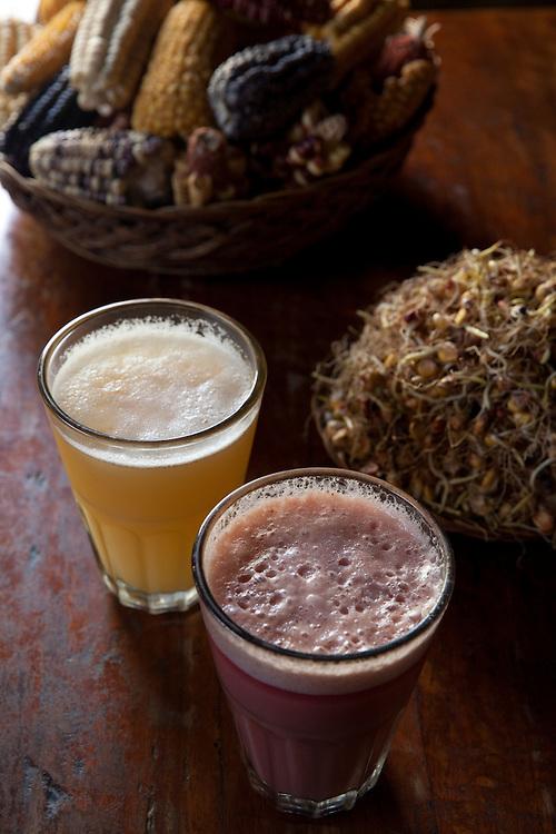 Chicha beer at a chicheria in Urubamba, Peru.
