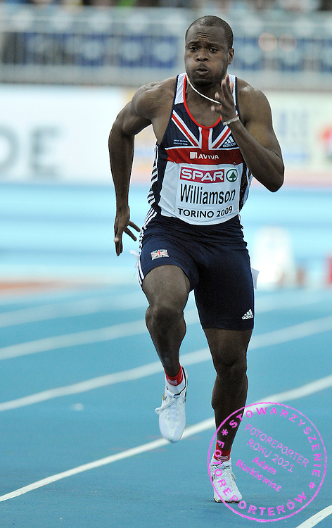 SIMEON WILLIAMSON (GREAT BRITAIN) COMPETES IN 60 METERS MEN AT OVAL LINGOTTO HALL DURING EUROPEAN ATHLETICS INDOOR CHAMPIONSHIPS TORINO 2009...TORINO , ITALY , MARCH 07, 2009..( PHOTO BY ADAM NURKIEWICZ / MEDIASPORT )