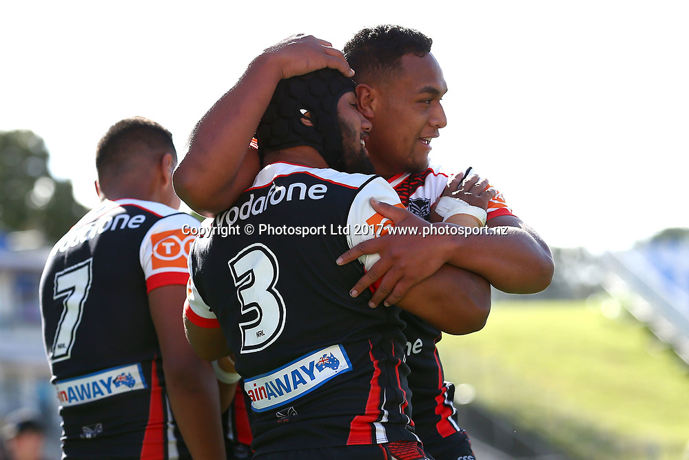 Melino Fineanganofo celebrates his try. Junior Warriors v Junior Roosters, Round 9 of the 2017 NYC Holden Cup Rugby League season at Mt Smart Stadium, Auckland, New Zealand. 30 April 2017. Copyright photo: Renee McKay / www.photosport.nz