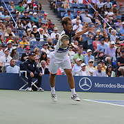 Richard Gasquet, France, in action against Rafael Nadal, Spain, during the Men's Singles Semi Final at the US Open. Flushing. New York, USA. 7th September 2013. Photo Tim Clayton