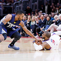 23 February 2015: Los Angeles Clippers guard Chris Paul (3) vies for the loose ball with Los Angeles Clippers guard Chris Paul (3) during the Memphis Grizzlies 90-87 victory over the Los Angeles Clippers, at the Staples Center, Los Angeles, California, USA.