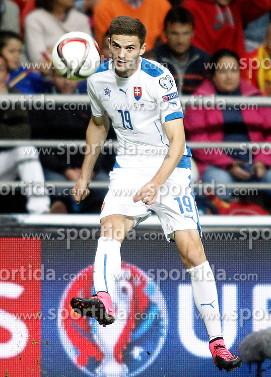 05.09.2015, Stadio Nuevo Carlos Tartiere, Oviedo, ESP, UEFA Euro 2016 Qualifikation, Spanien vs Slowakei, Gruppe C, im Bild Slovakia's Erik Sabo // during the UEFA EURO 2016 qualifier Group C match between Spain and Slovakia at the Stadio Nuevo Carlos Tartiere in Oviedo, Spain on 2015/09/05. EXPA Pictures &copy; 2015, PhotoCredit: EXPA/ Alterphotos/ Acero<br /> <br /> *****ATTENTION - OUT of ESP, SUI*****
