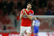 Middlesbrough defender George Friend (3) applauds the fans at full time during the EFL Sky Bet Championship match between Middlesbrough and Ipswich Town at the Riverside Stadium, Middlesbrough, England on 29 December 2018.