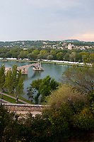 Looking out over the river and Pont Saint-Bénetzet in Avignon, France.