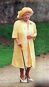 CLIPPING-.QUEEN ELIZABETH THE QUEEN MOTHERS 97th BIRTHDAY.CHURCH SERVICE AT  THE ROYAL SANDRINGHAM ESTATE, SAINT MARY MAGDALENE'S CHURCH.QUEEN MUM .PIC JAYNE RUSSELL.3.8.97